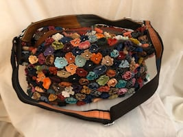 Leather Flowered shoulder bag- dual way straps-beautiful multicolor
