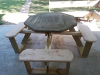octagon brown wooden bench table set