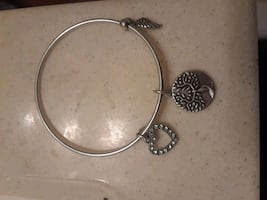 silver and white bracelet