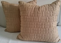 Set of 2 Throw Toss Pillow Faux Suede Brown - New Cape Coral