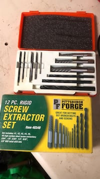 Pittsburgh Forge screw extraction set. Comes in case 2342 mi