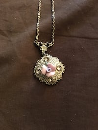 Vintage gorgeous necklace with silver and rose charm