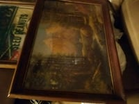 Antique Brown wooden framed painting of house Pickens, 29671