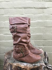 pair of brown leather knee-high boots Modesto, 95351