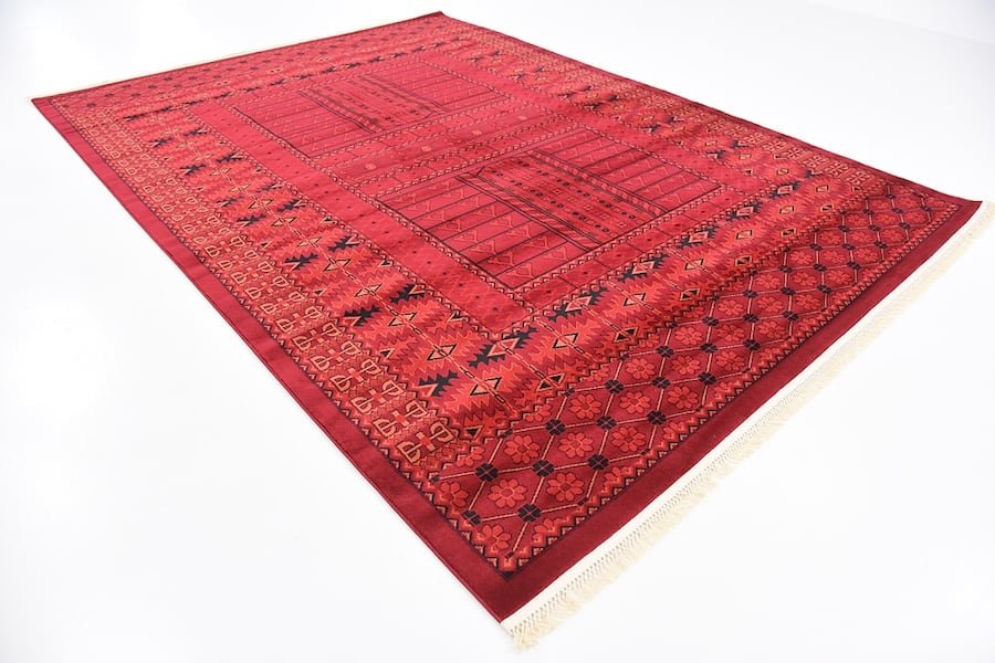 new Bokhara design area rug size 8x11 nice red carpet Persian style 6eee215a-b6bb-4e70-9a36-5c70833de628