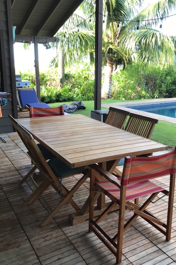 Super Bali Aga Teak Outdoor Table And 8 Chairs Two Years Old Download Free Architecture Designs Terchretrmadebymaigaardcom