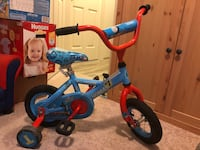 toddler's blue and red bicycle with training wheels New Westminster, V3M 1M4