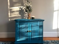 Rustic Blue Wooden Chest