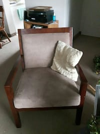 brown wooden framed gray padded armchair Kitchener, N2C 1R6