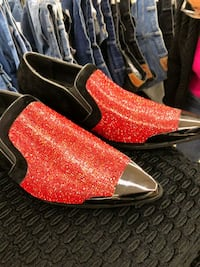pair of red suede heeled shoes St. Louis, 63136