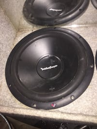 two round black Rockford Fosgate subwoofers