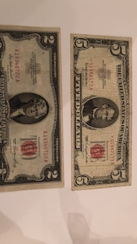 Red seal 2 dollar note and 5 star red seal note Lebanon, 17046