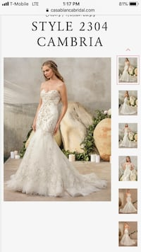 Casablanca white floral wedding gown size 4 petite Reston, 20190
