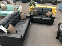 New Couch Sofa Set. Black Leather. Free Delivery ! Huntington Park