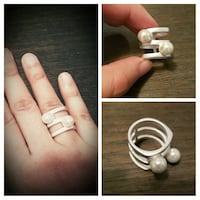 silver-colored pearl ring (firm) size 7