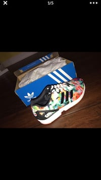 Women's size 7 1/2 Multi Color ZX Flux Adidas Sneakers SIENNA PLANT, 77459