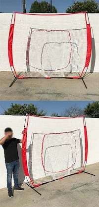 New $50 Baseball and Softball Practice Net Hitting and Pitching 7'x7' with Bow Frame South El Monte