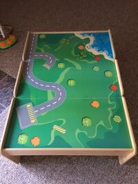 Green and blue wooden train table with drawrers Mc Lean, 22102