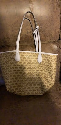 white and gray leather tote bag El Mirage