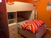 White bunk bed - desk combo and dresser Temple Hills, 20748