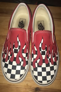 Red Flame Checkerboard Slip-on Vans