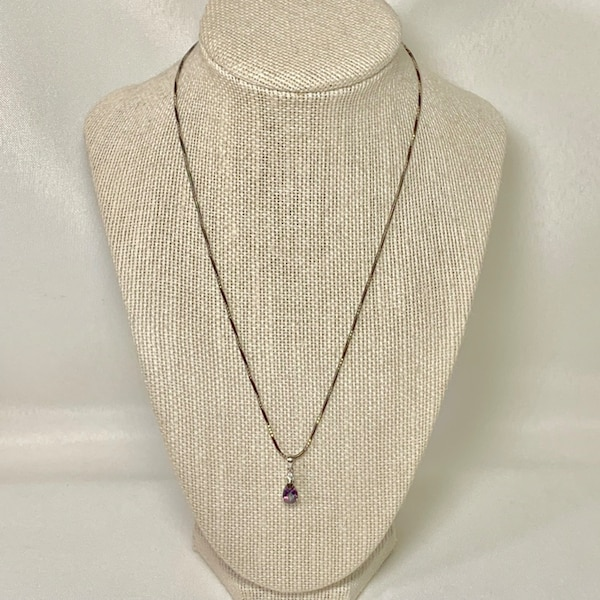 Vintage Sterling Silver Tourmaline Pendant with Sterling Rope Chain 129ea373-9afe-4741-b6b1-98b3c27106a0