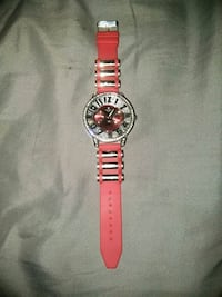 round silver-colored analog watch with red strap Wilmington, 19801