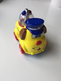 yellow and blue stock toy car