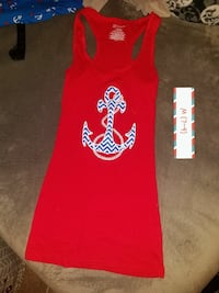 red, white and black anchor print tank top