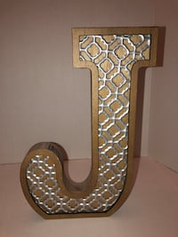 """Hallmark Wood and Silver Decorative """"J"""" great for wedding or home art"""