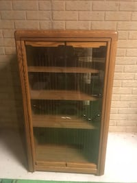 Brown wooden framed glass display cabinet Mc Lean, 22101