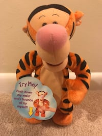 "Mattel Talking Bouncing 1998 Disney Winnie the Pooh Tigger Jumping 12"" Plush Arlington, 22205"