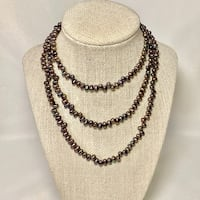 Tahitian Black Peacock Ringed Baroque Pearl Necklace