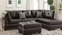 black leather sectional couch with ottoman Fresno, 93704