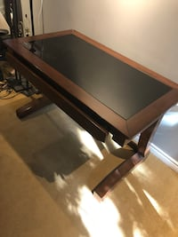 Dark Brown Desk with Black Glass Top Markham, L3P 2X8