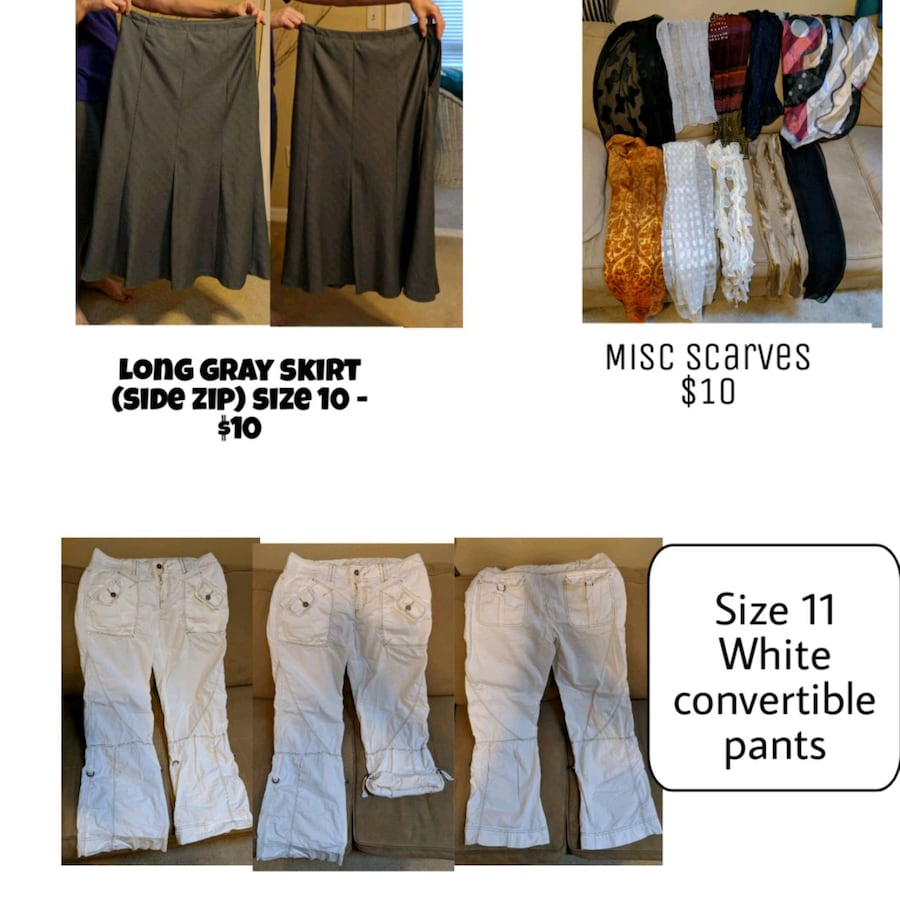 Clothing, pants, skirt, tops, scarves