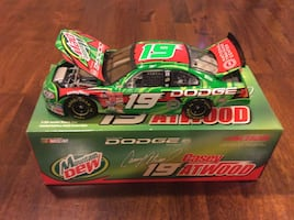 Green and red die-cast car