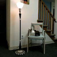 Funky, matching leopard print wooden chair & lamp