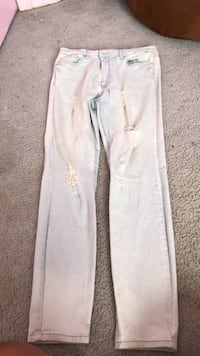 white denim straight cut jeans New York, 11691