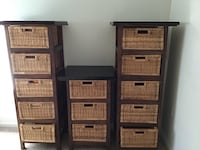 Wood and wicker dressers/storage, set of three