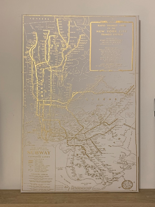 Nyc Subway Map Canvas Wall Art.Metallic Vintage Nyc Subway Map Canvas Wall Art