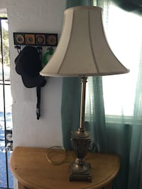Brass-colored and white table lamp Vista, 92084