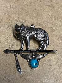 Navajo signed Large sterling silver turquoise wolf pendant  Desert Hot Springs, 92241