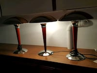 3 cherry and white Stanley steal table lamps Downers Grove, 60516