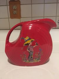 Vintage Rare Fiestaware 2qt Red Disk Pitcher w/ Child in a Garden  Elkton, 21921