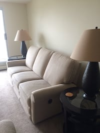 Cream fabric 3-seat sofa, love, two end tables, coffee table and lamps