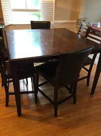 Rectangular brown wooden table with four chairs dining set Frederick, 21704