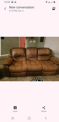 2 free leather recliner couches. Fair condition, must pickup