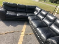Black leather sectional sofa with ottoman Suitland, 20746