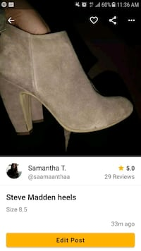 unpaired brown suede chunky heeled bootie screenshot Toronto, M6E 1Y5